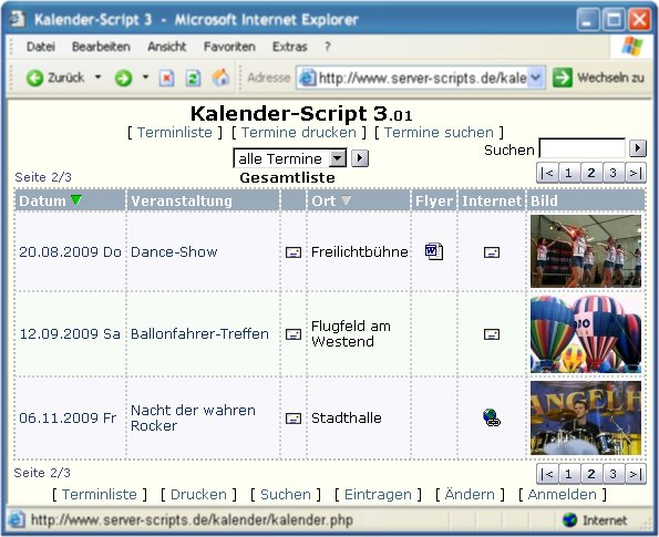 Screenshot vom Programm: Kalender-Script